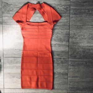 Orange bandage mini dress